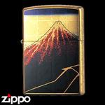 Zippo - Gold Leaf Artwork - Hokusai's  Rainstorm Beneath the Summit