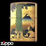 Zippo - Gold Leaf Artwork - Hokusai's Mishima Pass in Kai Province