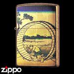 Zippo - Gold Leaf Artwork - Hokusai's Fuji View Field in Owari Province