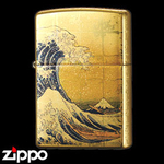 Zippo - Gold Leaf Artwork - Hokusai's The Great Wave off Kanagawa