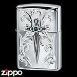 Sterling Silver Zippo - Victorian Dagger  (Blue)