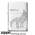 Sterling Silver Zippo - Tribal Wolf