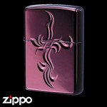Engraved Zippo - Spiral Cross  (Ruby Black)
