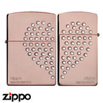 Pair Zippo - Swarovski Heart  (Pink Gold)