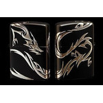 Tribal Zippo - Dragon  (Matte Silver)