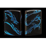 Tribal Zippo - Dragon  (Matte Blue)