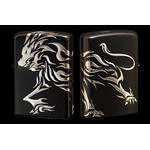 Tribal Zippo - Lion  (Matte Silver)