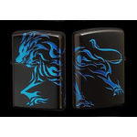 Tribal Zippo - Lion  (Matte Blue)