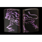 Tribal Zippo - Lion  (Matte Violet)