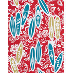 Surfing - Mini Tenugui (Japanese Multipurpose Hand Towel) - Red