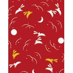 Rabbits in the Moonlight - Mini Tenugui (Japanese Multipurpose Hand Towel) - Red