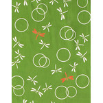 Dragonflies in the Autumn  - Mini Tenugui (Japanese Multipurpose Hand Towel) - Green
