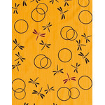 Dragonflies in the Autumn  - Mini Tenugui (Japanese Multipurpose Hand Towel) - Yellow