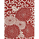 Arabesque Chrysanthemum - Mini Tenugui (Japanese Multipurpose Hand Towel) - Crimson
