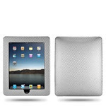 Carbon Fiberish Leather  iPad Hard Case (Silver)