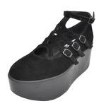 BELLY BUTTON No.120 / Black Velour Platforms
