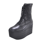BELLY BUTTON No.720 / Black-Smooth Platform Boots
