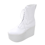 BELLY BUTTON No.720 / White-Smooth Platform Boots