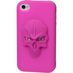 iPhone 4/4S Skull Silicone Case - Pink