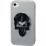 iPhone 4/4S Skull Silicone Case - Silver x Black