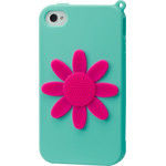 iPhone 4/4S Flower Silicone Case - Green x Pink