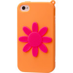 iPhone 4/4S Flower Silicone Case - Orange x Pink