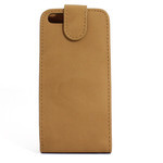 iPhone 5 Vertical Folding Suede Leather Case - Beige