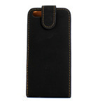 iPhone 5 Vertical Folding Suede Leather Case - Black 