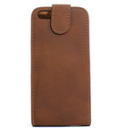 iPhone 5 Vertical Folding Suede Leather Case - Brown