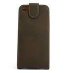 iPhone 5 Vertical Folding Suede Leather Case - Dark Brown