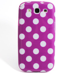 GALAXY S3 TPU Shell Case - Polka Dot Purple x White