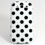 GALAXY S3 TPU Shell Case - Polka Dot White x Black