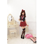 AKIBA-style Pleated Checker Mini Skirt with Black Vest & Ribbon Hair Band