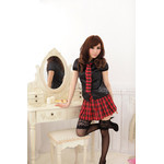 AKIBA-style Puff-sleeve Blouse & Checkered Skirt Set