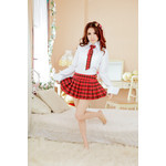 AKIBA-style Long-Sleeved Blouse with Checkered Red Skirt