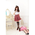AKIBA-style High-neck Blouse & Checkered Frill Skirt Set