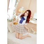 AKIBA-style Pleated Skirt & Big-Ribbon Set