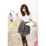 AKIBA-style High-Neck Blouse & Frilled Checkered Skirt Set