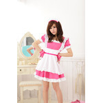 Pink Square-Neck Maid Cosplay Costume with Frilled Apron