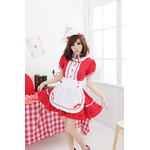 Buttoned, Puff-Sleeve Maid Cosplay Costume with Apron