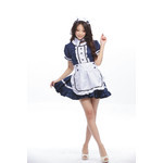 Blue Puff-Sleeve Maid Cosplay Costume with Apron
