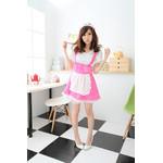 Puff-Sleeve Polka-Dot Maid Cosplay Costume - Pink