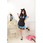 Black Apron Maid Cosplay Costume Set - Blue