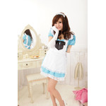 Alice in Wonderland Puff Sleeve Maid Cosplay Costume - Blue