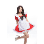 Alice in Wonderland Puff Sleeve Maid Cosplay Costume - Red