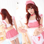 Gingham Maid Cosplay Costume with Frilled Lace Mini Skirt