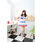 Japanese High-School 'Sailor' Uniform-Style Cosplay Costume with Tricolor Cap