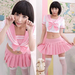 Japanese High-School 'Sailor' Uniform-Style Cosplay Costume (Pink Basic)