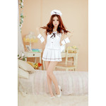Sleeveless Japanese High-School Uniform-Style Cosplay Costume with Cuffs and Cap
