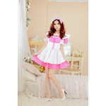 Polka Dot Maid Cosplay Costume Set (Pink)